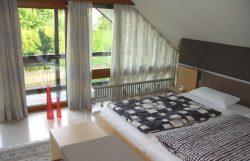 Heizkörper aus Edelstahl, Raumteiler, hier Bodenmontage vor bodentiefem Fenster.